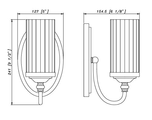 Hardware House 20-8642 Lexington - One Light Wall Sconce, Oil Rubbed Bronze Finish with Clear Ribbed/Frosted Glass