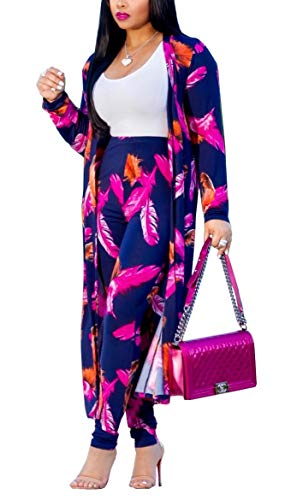 LKOUS Women 2 Piece Outfit Floral Long Sleeve Open Front Kimono Cardigan Bodycon High Waisted Long Pants Plus Size