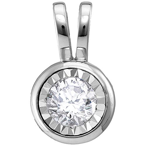Jewels By Lux 14kt White Gold Womens Round Diamond Solitaire Pendant 1/2 Cttw In Bezel Setting (I1-I2 clarity; H-I color)