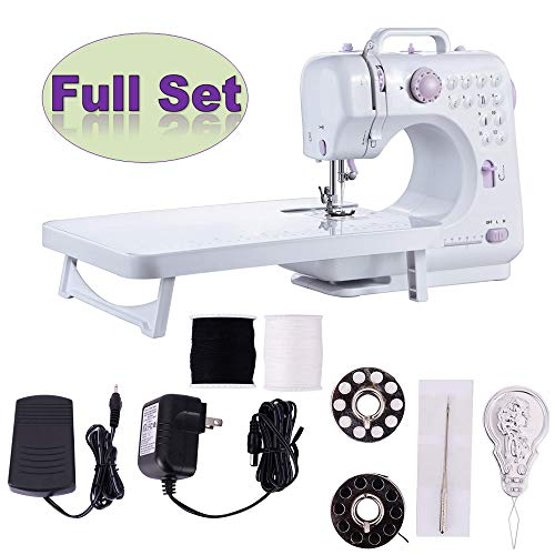 (EEDMET Portable Sewing Machine with Extension Table, 12 Stitches 2 Speed Double Thread Needle, Mini Electric Sew Machines, Easy to Use for Beginner or Experienced (Purple) )