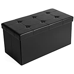 "SONGMICS 30"" L Faux Leather Folding Storage Ottoman Bench, Storage Chest/Footrest/Coffee Table/Padded Seat, Black ULSF105"