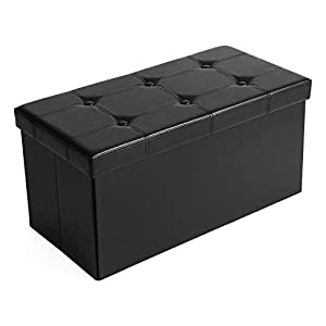 picture of SONGMICS 30 Inches Faux Leather Folding Storage Ottoman Bench, Storage Chest Footrest Coffee Table Padded Seat, Black ULSF105