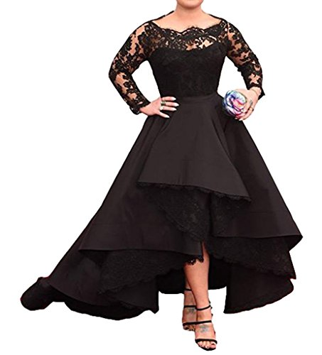 [Diandiai Women's Lace Long sleeve Prom dress 2017 Plus Size Hi-Lo Evening dress Black 24] (Plus Size Evening Wear)