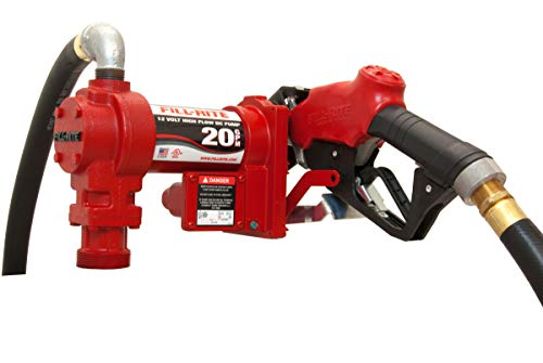 Fill-Rite FR4210GB 12V 20 GPM Fuel Transfer Pump with Auto Nozzle, Discharge Hose, Suction Pipe ()