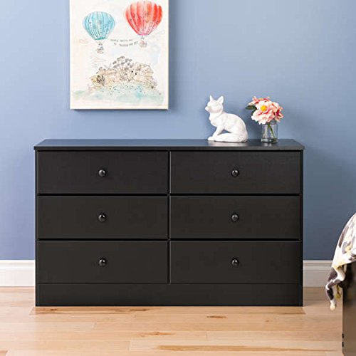 Dresser / Chest Dresser , Contemporary Bella 6-Drawer Wood Dresser, Black B-2326-BELL in Black Finish, Assembly Required - Contemporary 6 Drawer Chest