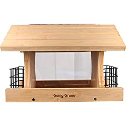 AUDUBON/WOODLINK Deluxe Bamboo Feeder with Suet Cages Natural 4 Pound Cap
