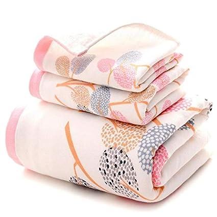 Znyo Juego de Toallas de baño Conjunto de 3 Toallas de algodón Exquisito Patrón de árboles
