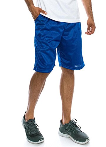Ma Croix Mens Basic Mesh Gym Fitness Shorts with Pockets Plain Workout Jersey Soft Basketball Summer Shorts