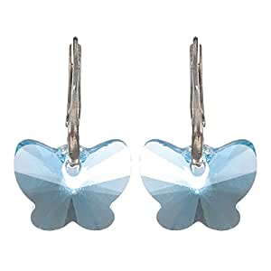 Crystal Diva Women's Silver Blue Swarovski Elements Earrings