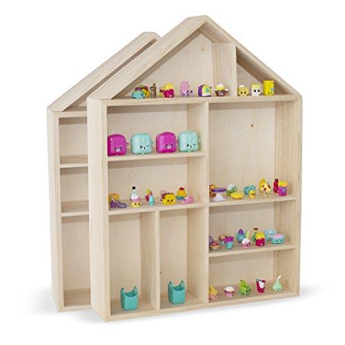 WALLNITURE House Shape Wooden Shadow Cubby Box Storage Natural Set of 2 (Diy Shadow Box Ideas)