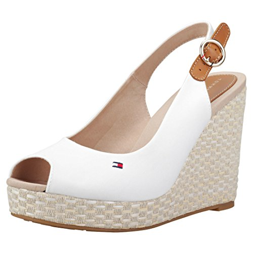 Tommy Hilfiger Iconic Elena Basic Sling Back Womens Wedges White - 39 EU by Tommy Hilfiger