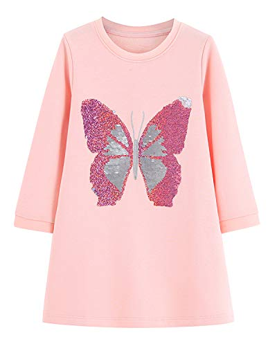 Youlebao Girls Cotton Long Sleeve Casual Cartoon Appliques Striped Jersey Dresses (5T, Reversible Sequin Butterfly)