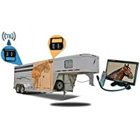 Tadibrothers 9 Inch Horse Trailer Monitor with 2 Wireless Mounted RV Backup Cameras