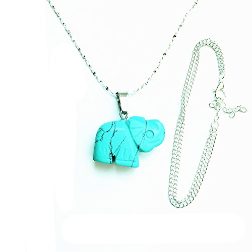 Sanlyton Natural Turquoise/Pink Crystal Elephant Pendant Sterling Silver Necklace Giving a Sterling Silver Bracelet Holy Good Luck (Green)