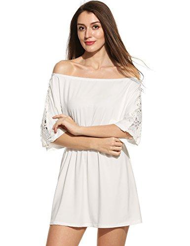 Teamyy Vestido Pullover Casual para Mujer 3/4 mangas Remiendo del bordado Blanco