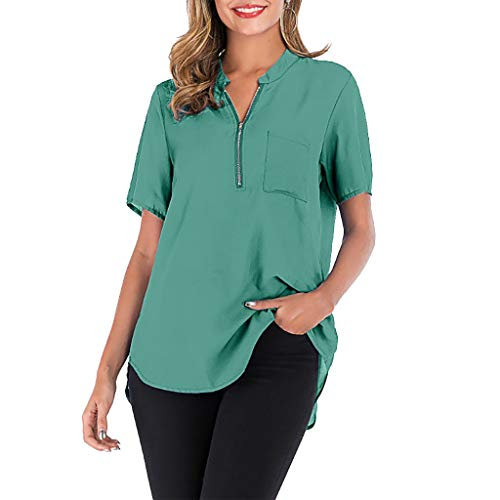 TANLANG Blouse for Women V-Neck Zip Top Solid Color Short Sleeved Shirts Loose Hem T-Shirt Casual Soft Tunic Tee Plus Size Green ()