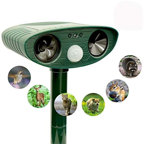 ZOVENCHI Ultrasonic Animal Repeller, Solar Powered Repellent with Motion Sensor Ultrasonic and Red Flashing Lights Outdoor Waterproof Farm Garden Yard Repellent, Cats, Dogs, Foxes, Birds, Skunks, Rod