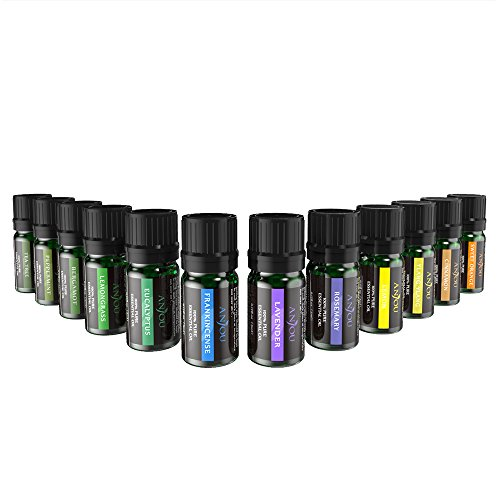 Anjou Essential Oils Set, Upgraded Top 12 100 Pure Aromatherapy Essential Oil Kit, 12 x 5 ml (Lavender, Sweet Orange, Peppermint, Tea Tree, Eucalyptus, Lemongrass, Bergamot, Frankincense etc.)
