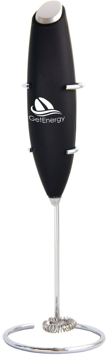 GetEnergy Electric Milk Frother Handheld, Perfect for the Best Latte,Cofee,Cappuccino, Whip Foamer,Durable Drink Mixer, Includes Stainless Steel Stand