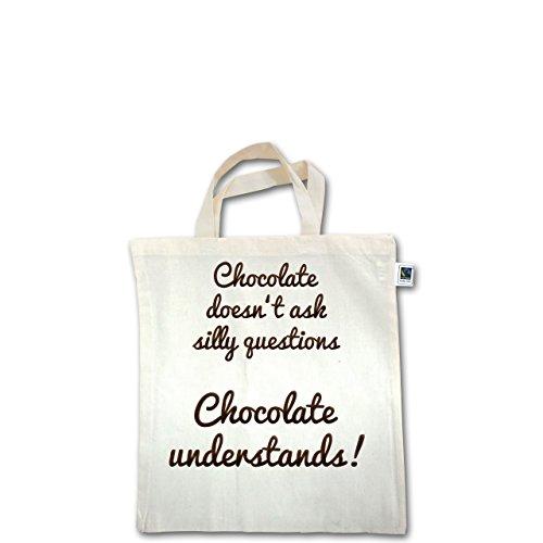 Küche - Chocolate understands! - Unisize - Natural - XT500 - Fairtrade Henkeltasche / Jutebeutel mit kurzen Henkeln aus Bio-Baumwolle