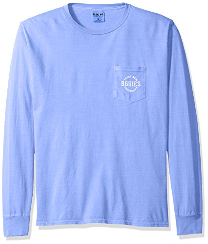 (NCAA Texas A&M Aggies Adult NCAA Dyed Ringspun Longsleeve Tee with Pocket,Small,Periwinkle)
