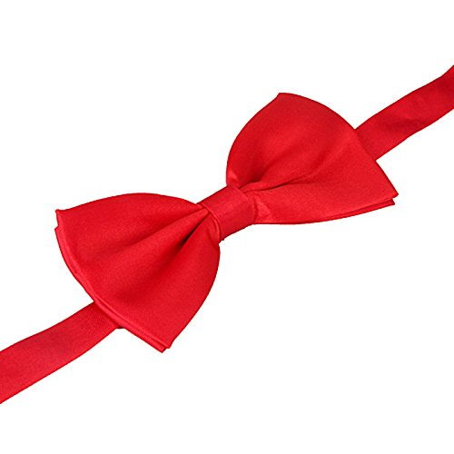 Red Satin Bow Tie (HDE Men's Pre-Tied Adjustable Bow Tie Poly Satin Wedding Tuxedo Formal Event Necktie)