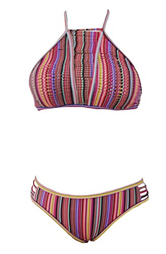 MYQueen Women's Sexy Design Hanging Neck Strap Bikini Low Waist On Both Sides Of The Hollow Split (Sailor Outfit Ebay)