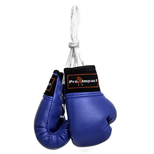 Pro Impact Mini Boxing Gloves - Miniature Punching Gloves - Hanging Decoration or Souvenir Display - for Home & Car Use - 1 Pair (Blue)