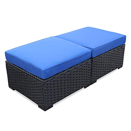 Patio Rattan Wicker Ottoman Seat – Outdoor Footrest with Water Resistant Blue Cushions-Set of 2