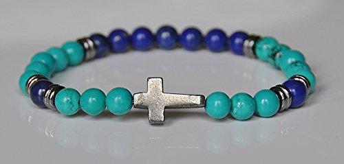 Health and Wellbeing, Faith Bracelet, Pyrite Cross Bracelet, Turquoise Healing Gemstone Bracelet, Spiritual Bracelet, Mens Fashion Bracelet, Lapis Lazuli Wrap,