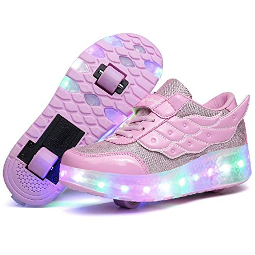 Nsasy Roller Shoes Roller Skates Shoes Girls Boys Wheel Shoes Kids Wheel Sneakers Roller Sneakers Shoes with Wheels ()