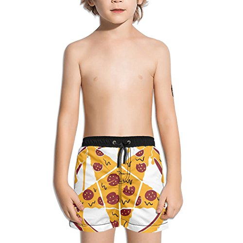 Trum Namii Boy's Quick Dry Swim Trunks Pizza Star Sign Shorts