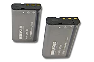INTENSILO 2x Li-Ion batería 1800mAh (3.7V) para cámara de video, videocámara Casio Exilim EX-FH100, EX-H10, EX-H15 HI-Zoom, EX-H20G por NP-90.