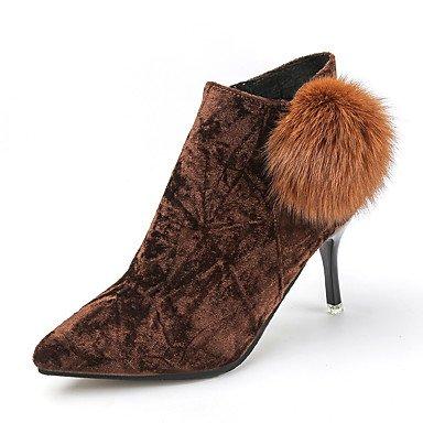 Heart&M Damen Schuhe Kunstleder Herbst Winter Komfort Stiefel Stöckelabsatz Booties Stiefeletten Für Normal Schwarz Braun Grün brown