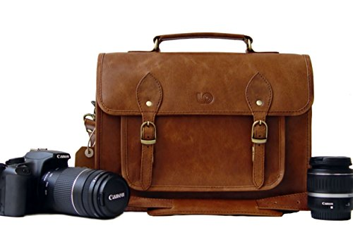 Leftover Studio DSLR Mirrorless SLR Camera Bag Case 13 inch in Rustic Crunch Cow Leather by Leftover Studio