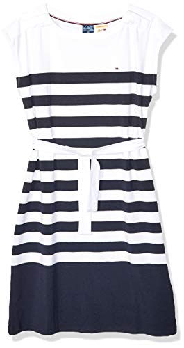 Tommy Hilfiger Women's Adaptive Striped Dress with Magnetic Closure at Shoulders, White/Navy, Medium (Adaptive Dress)