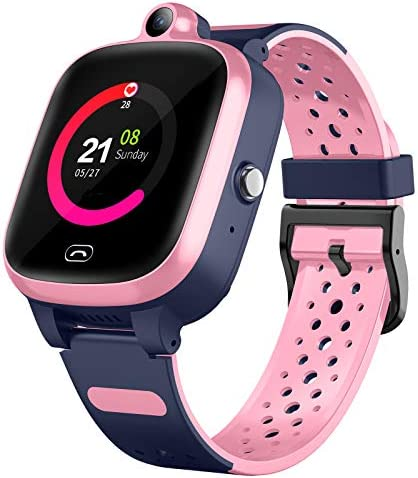 Efolen 4G Smart Watch for Kids - Smartwatch with GPS WiFi LBS Tracker Real Time Position HD Touch Screen SOS Video Call Waterproof Message Compatible Android and iOS for Boys Girls (Pink)