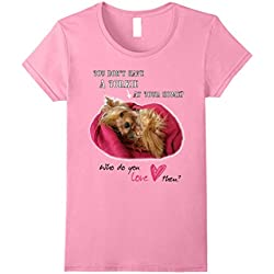Women's Lovely Yorkie Cute Yorkshire Terrier T-Shirt with Love Medium Pink