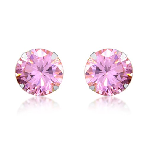 Tourmaline White Gold Stud (Round Cut Simulated Light Pink Tourmaline Stud Earrings In 10k Solid Gold)