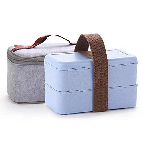 Japanese Bento Box, Arderlive Stackable Wheat Straw Portable Leakproof Lunch Box with Lunch Bag, Eco-friendly Food Storage Container for kids.(Blue)