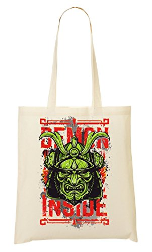 Popular Mask To Inside Fourre Sac à provisions Nice Horror Demon Sac tout Samurai Etwq1pR
