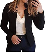 SELX Women Solid Cardigan Work Dress Fall-Winter Blazer Open-Front Blazer Jacket Coat