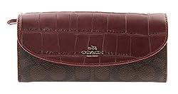 Coach Check Book with Crocodile Style Long Wallet, F54004 (Khaki / Black)