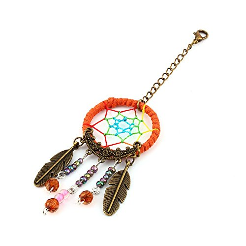 Yosoo Handmade Dangling Feather Tassels Turquoise Charms Dreamcatcher Pendant Keyring, Keychain, Car  Bag Hanging Ornament