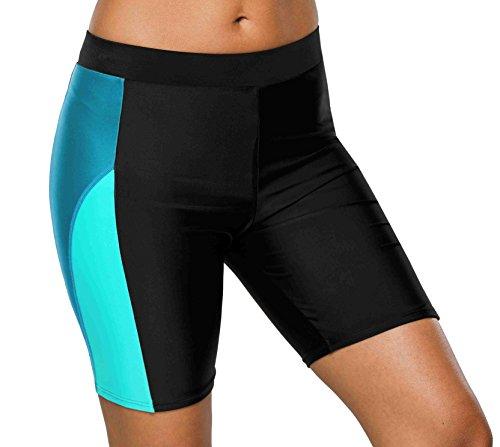 (beautyin Swimwear Bottom for Womens Long Boardshorts Tankini Swim Jammers ,Black-blue)