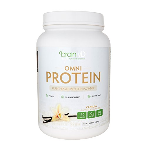 Dr. Amen Brain MD, OMNI Vanilla Protein Powder– Real Vanilla,Vegan, Sugar Free No Gluten by BrainMD Health