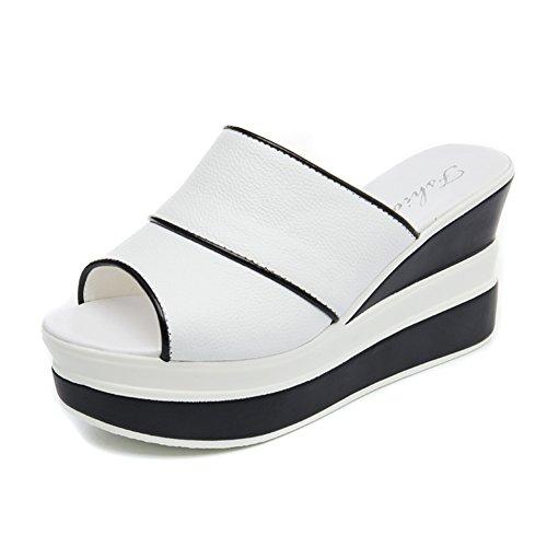 9cm del CN38 de verano Boca grueso UK5 2 Moda Negro 5 Zapatos Hembra EU38 colores de zapato pescado zapatillas Fondo abajo demasiado talón alto moda Cuesta Altura con Tamaño Blanco LIXIONG Color 2 AqxUaBEwn