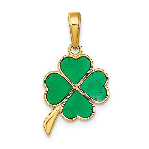 14k Yellow Gold 4 Leaf Clover Enameled Pendant Charm Necklace Fine Jewelry Gifts For Women For Her