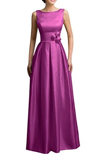 Partito Viola line Raso Avril Vestito Sera A Sleeveless Di Paletta Fiore Spazzata Vestito Da qxwwtzY1O