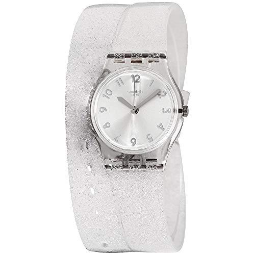 Original Silver Dial - Swatch Originals Silver Glistar Silver Dial Silicone Strap Ladies Watch LK343